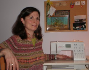 Lois at home at her sewing desk.