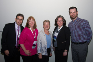 Catherine (second from right) poses with other members of the 2014 class of SLA Fellows: from left, Tony Landolt, Leslie Reynolds, Mary Ellen Bates, and Daniel Lee.